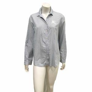 Burberry Brit Womans Blue Striped Button Shirt